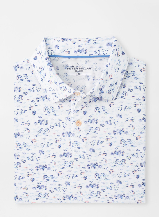drirelease® Natural Touch Sea Drinks Polo in White by Peter Millar
