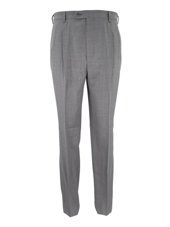 Bennett Wool Double Pleated Dress Trouser in Grey by Zanella