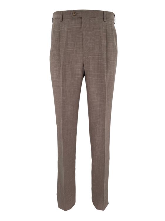 Bennett Wool Double Pleated Dress Trouser in Tan by Zanella