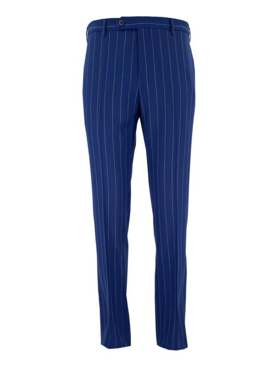 Devon Flat Front Wool Dress Trouser in Blue Pinstripe by Zanella