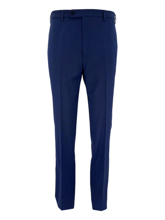 Todd Flat Front Wool Dress Trouser in Blue by Zanella