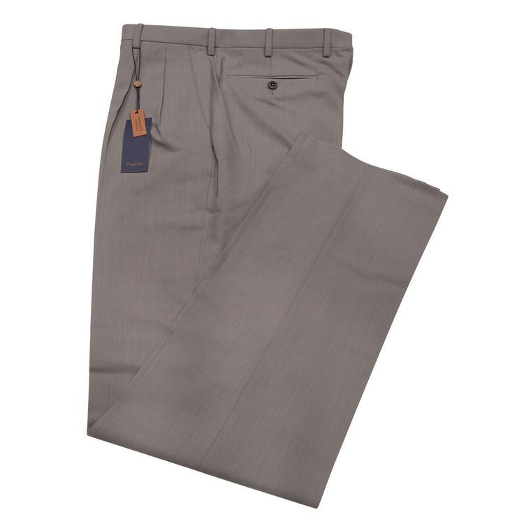 Bennett Double Reverse Pleat High Twist Wool Pant Size 35x32 in Grey by Zanella