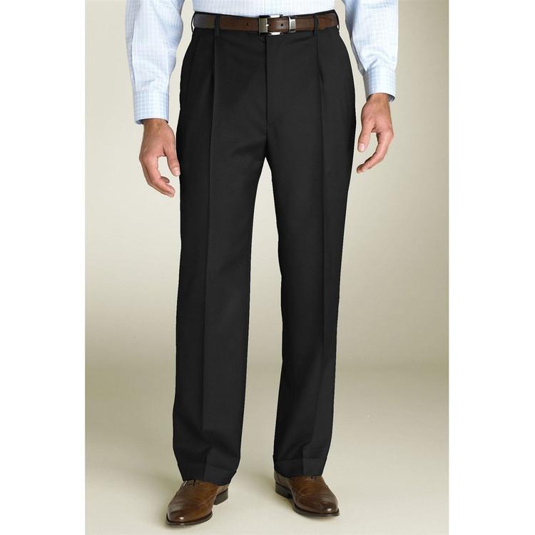 'Bennett' Double Reverse Pleat Luxury 120's Wool Serge Pant Size 38x29 in Black by Zanella