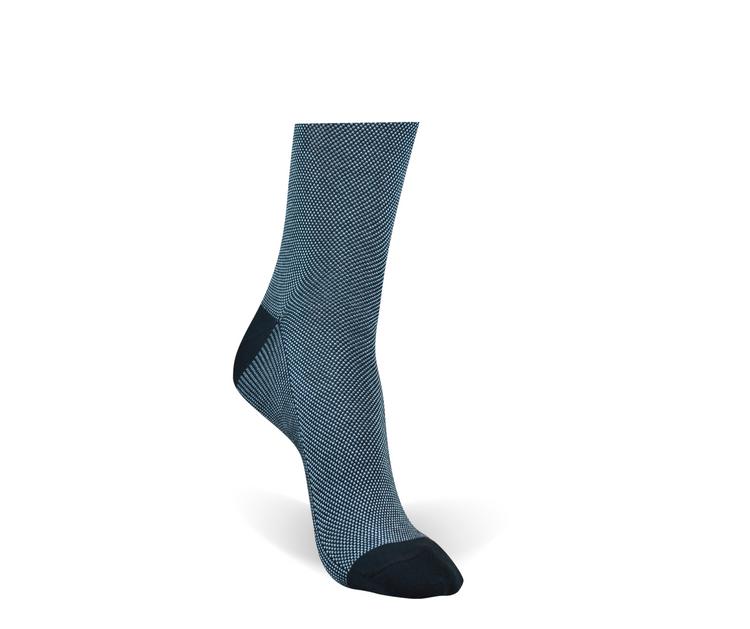 Navy 2-Color Pindot Peruvian Pima Cotton Socks (Mid-Calf) by Byford