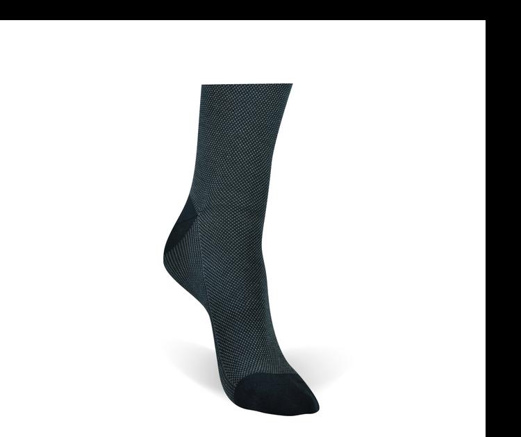 Black 2-Color Pindot Peruvian Pima Cotton Socks (Mid-Calf) by Byford