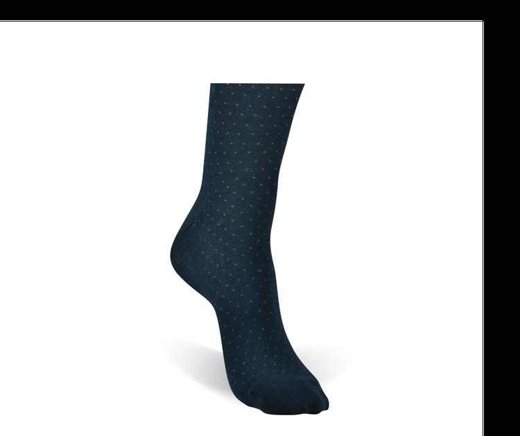 Navy Dot Peruvian Pima Cotton Socks (Mid-Calf) by Byford