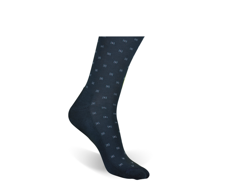 Navy Deco Square Padded Sole Socks (Mid-Calf) by Byford