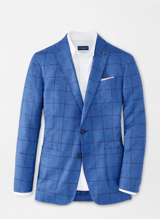Maritime Windowpane Soft Jacket in Riviera Blue by Peter Millar