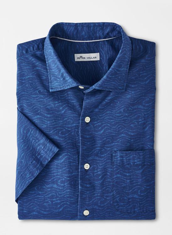 Shipstern Bluff Cotton-Blend Sport Shirt in Atlantic Blue by Peter Millar