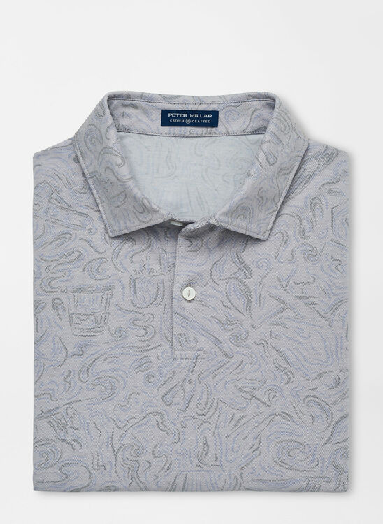 Ace Cotton-Blend Piqué Polo in Gale Grey by Peter Millar
