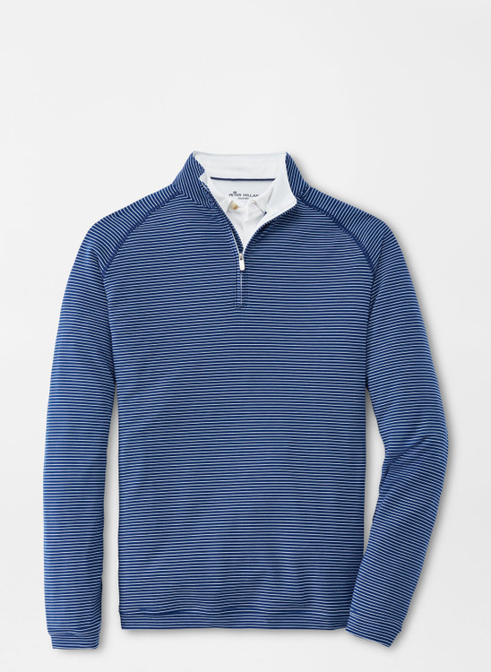 drirelease® Natural Touch Stripe Quarter-Zip in Atlantic Blue by Peter Millar