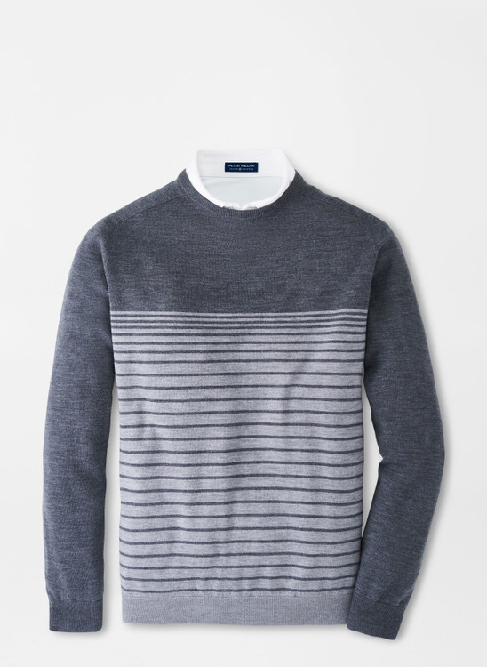 Crown Crafted Stripe Crewneck Sweater in Steel by Peter Millar