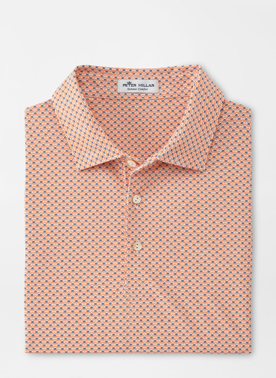 Roanoke Performance Mesh Polo in White and Orange by Peter Millar