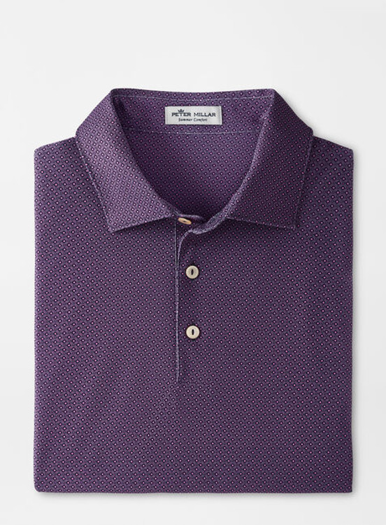 Kerr Performance Mesh Polo in Navy and Purple by Peter Millar