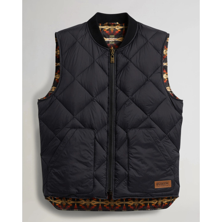 Men's Wild Horse Reversible Down Vest in Camel and Black Tucson by Pendleton