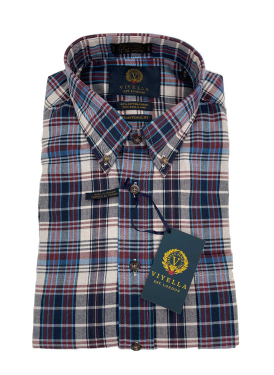 Wheat Plaid Button-Down Sport Shirt in Classic Fit by Viyella