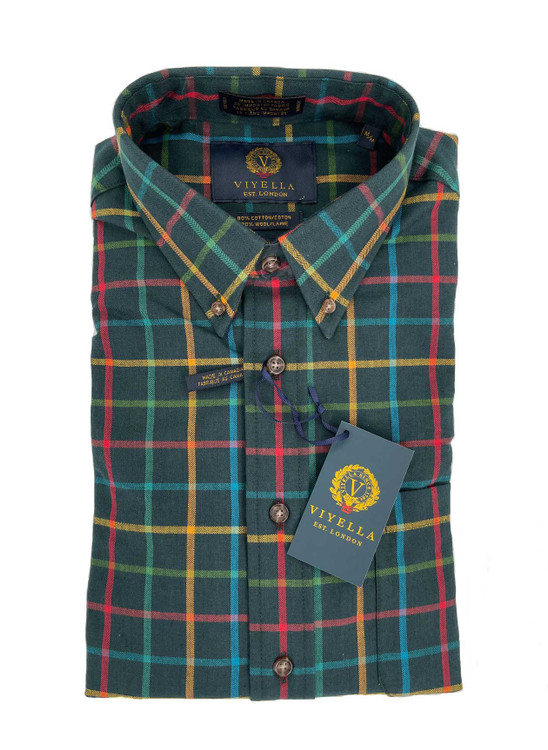 Green Gable Plaid Button-Down Sport Shirt in Classic Fit by Viyella