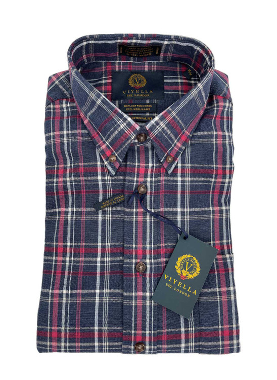 Navy Plaid Button-Down Sport Shirt in Classic Fit by Viyella