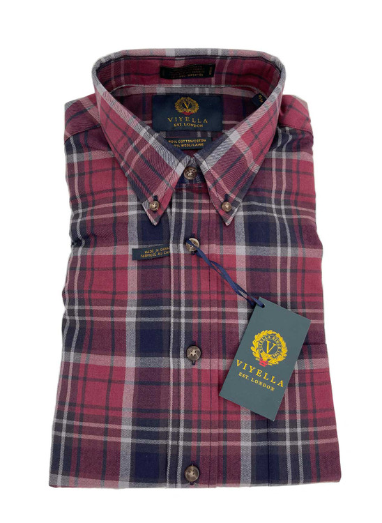 Wine Plaid Button-Down Sport Shirt in Classic Fit by Viyella