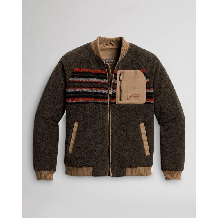 Lodgepine Fleece Bomber Jacket in Mocha Stripe by Pendleton