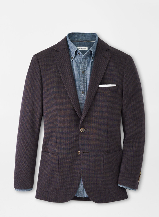 Houndstooth Knit Soft Jacket in Chestnut by Peter Millar