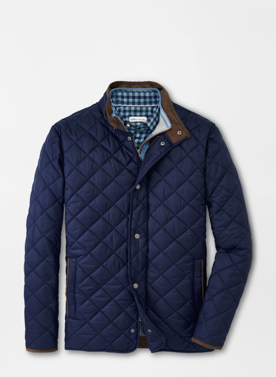 Suffolk Quilted Travel Coat in Regular Navy by Peter Millar