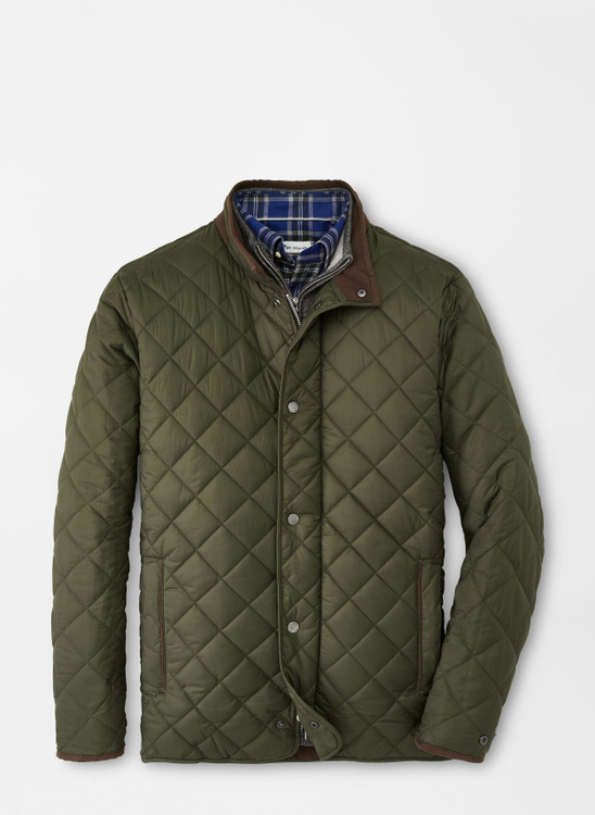 Suffolk Quilted Travel Coat in Olive Branch by Peter Millar