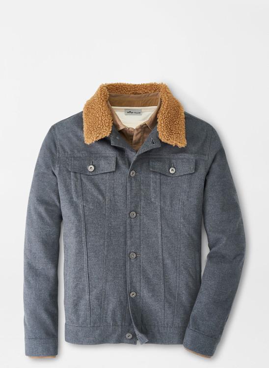 Mountainside Flannel Trucker Jacket in Charcoal by Peter Millar