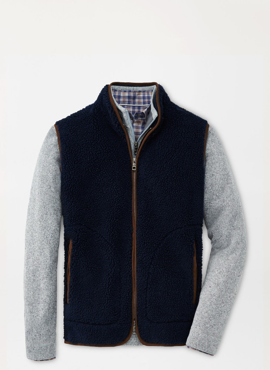 High Pile Sherpa Vest in Navy by Peter Millar