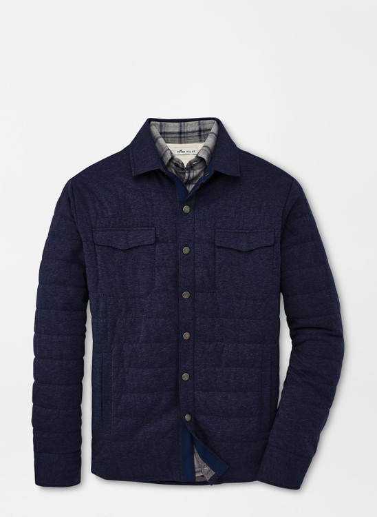 Cotton Cashmere Knit Shirt Jacket in Navy by Peter Millar