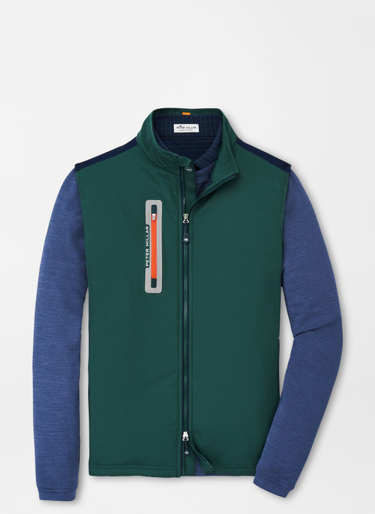 Hyperlight Fuse Hybrid Vest in Nordic Pine and Navy by Peter Millar