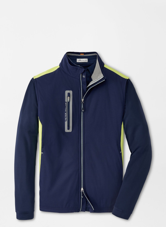 Hyperlight Fuse Hybrid Vest in Navy and Lime Wedge by Peter Millar