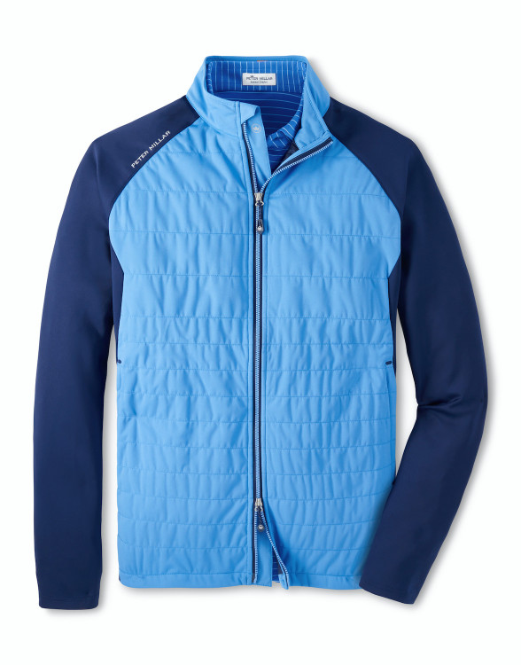Hyperlight Merge Hybrid Jacket in Evening Tide and Navy by Peter Millar