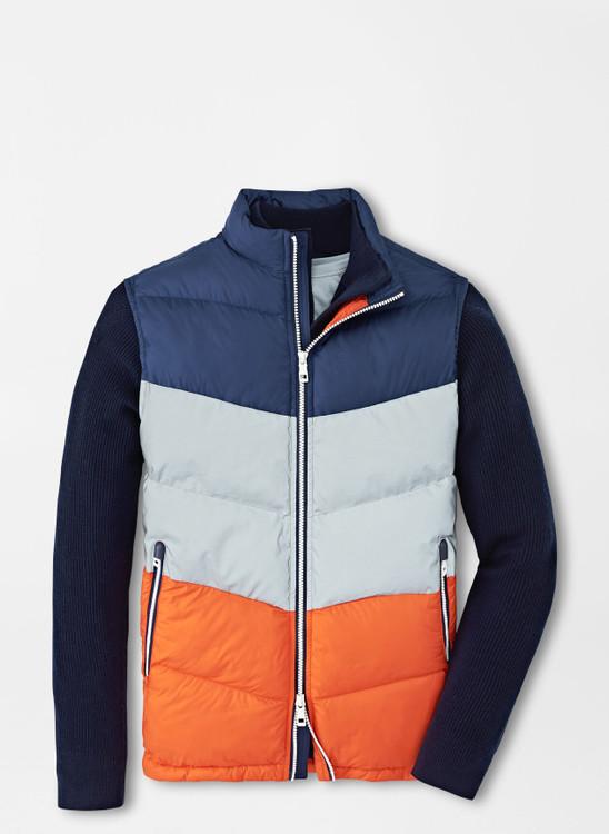 Après Ski Vest in Navy, Grey and Orange by Peter Millar