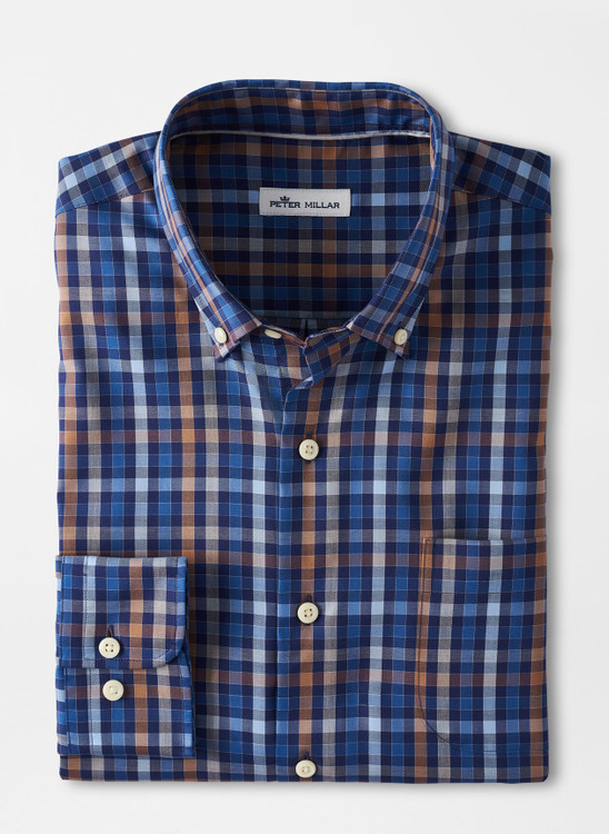 Crown Ease Langley Cotton Sport Shirt in Navy by Peter Millar