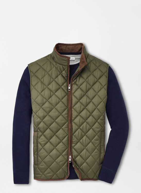 Essex Quilted Travel Vest in Olive Green by Peter Millar