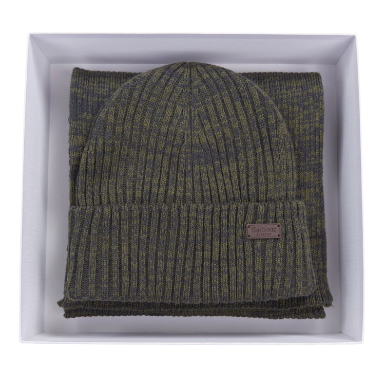 Crimdon Beanie and Scarf Gift Set in Olive by Barbour