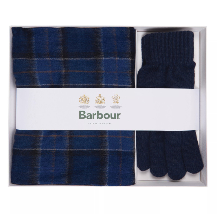 Tartan Scarf and Glove Gift Set in Blue by Barbour
