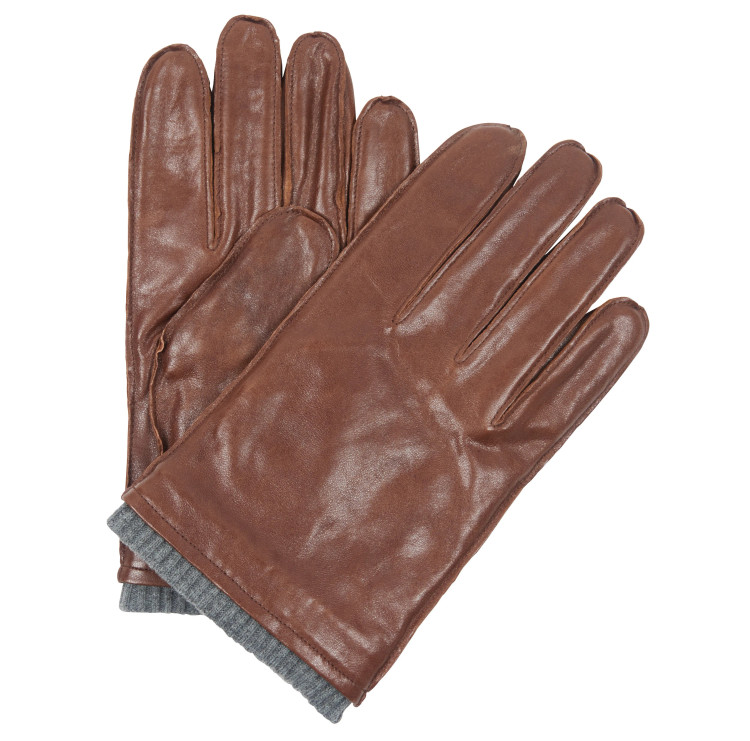 Braden Burnished Leather Gloves in Brown by Barbour
