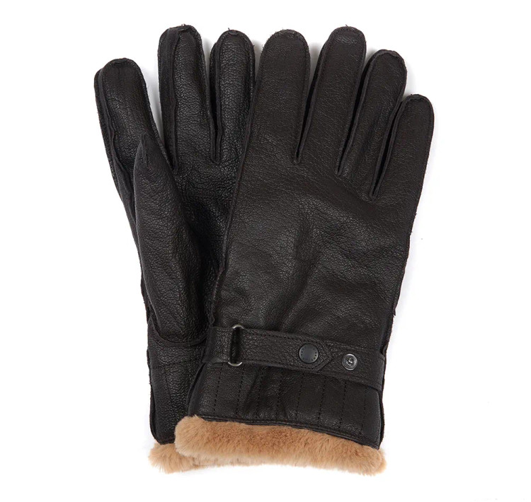 Leather Utility Gloves in Brown by Barbour