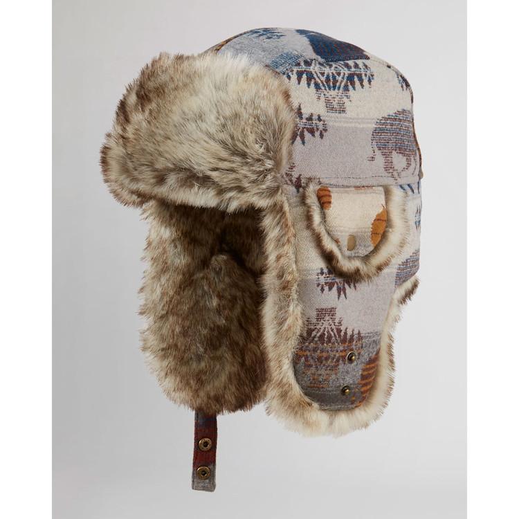 Wool Trapper Hat in Grey Prairie Rush Hour by Pendleton