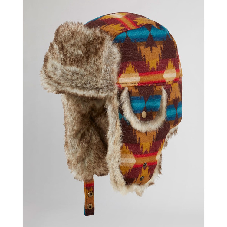 Wool Trapper Hat in Red Multi Grand Mesa by Pendleton