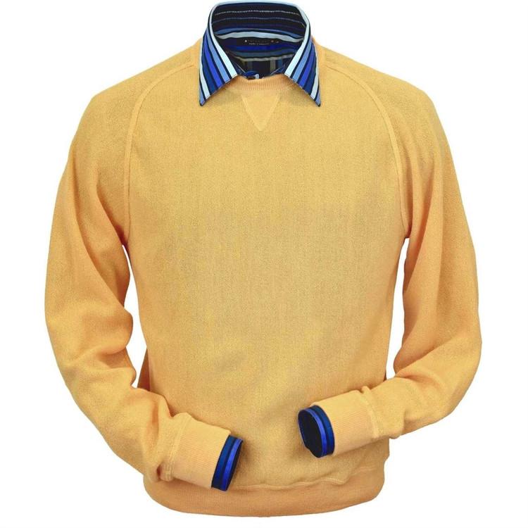 Baby Alpaca Link Stitch Sweatshirt Style Sweater in Gold by Peru Unlimited