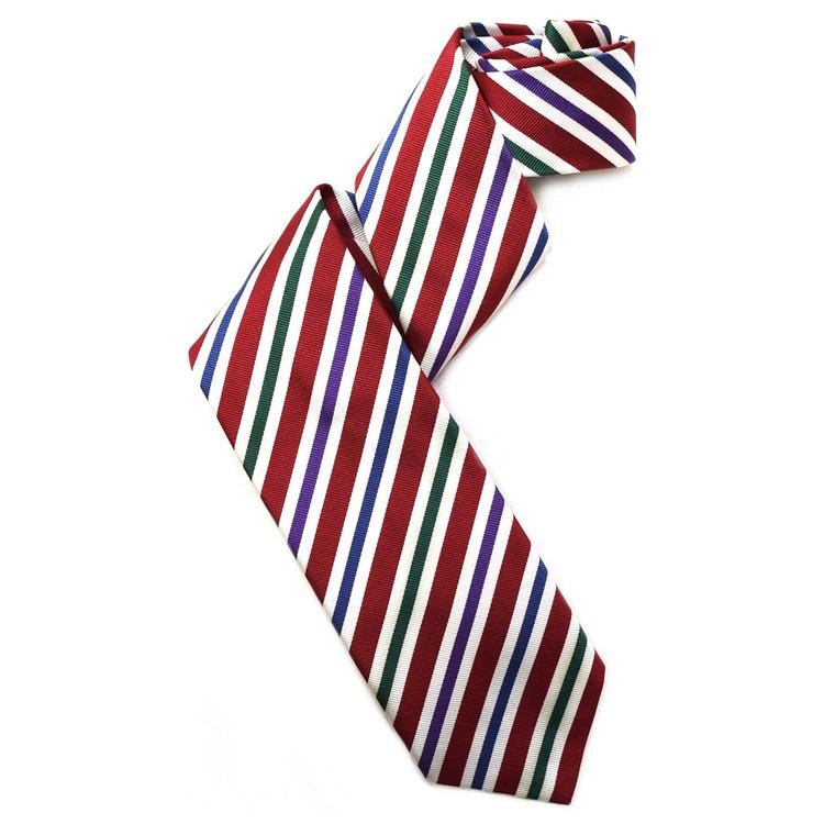 Red, Blue, Purple, and Green Silk Faille Repp Tie by Robert Jensen