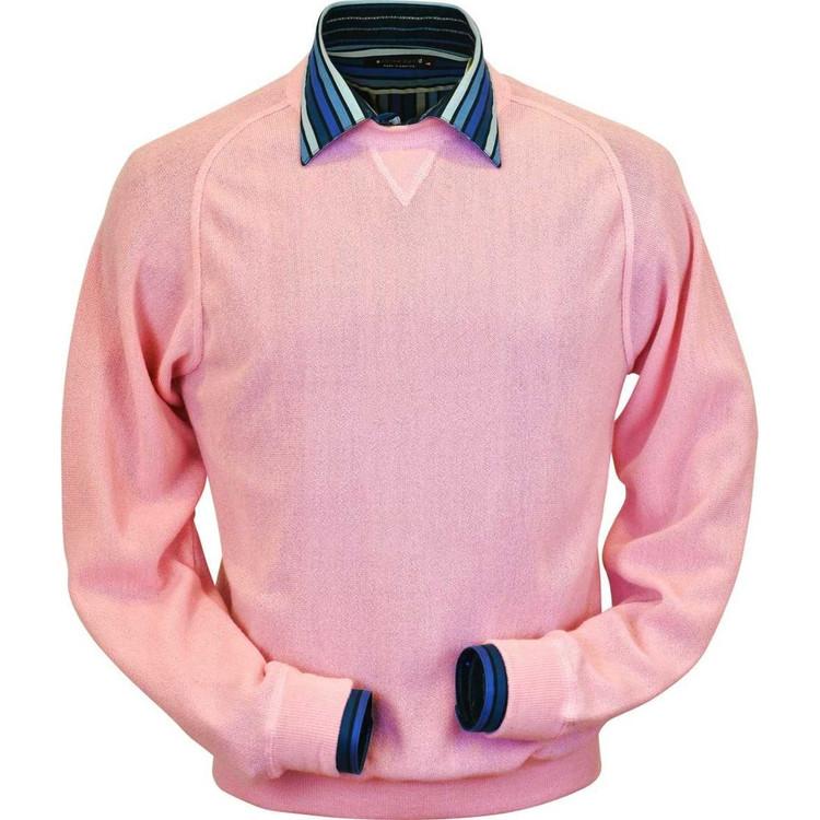 Baby Alpaca Link Stitch Sweatshirt Style Sweater in Pink by Peru Unlimited