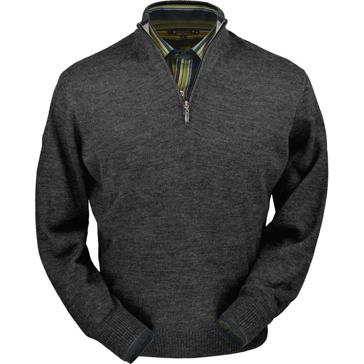Royal Alpaca Half-Zip Sweater in Medium Grey Heather by Peru Unlimited