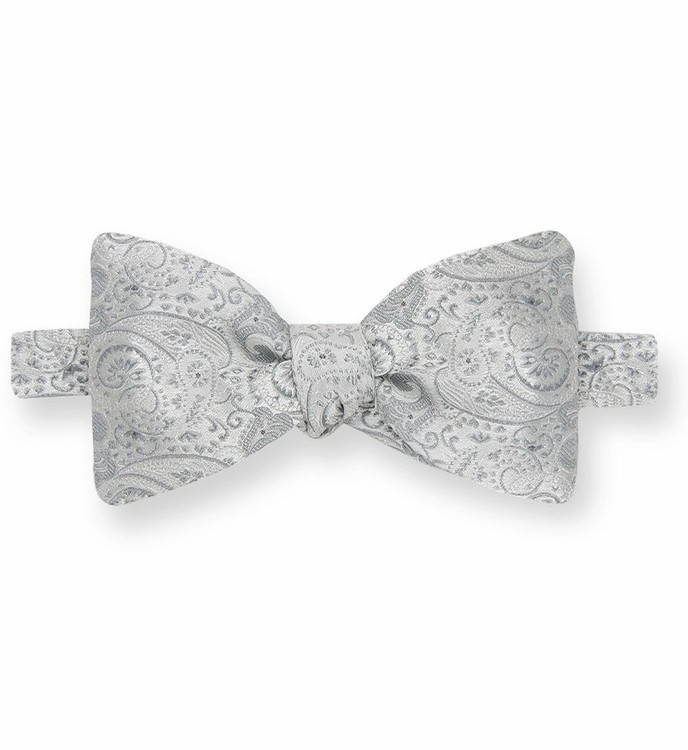 Silver Paisley Silk Bow Tie by Gitman Brothers