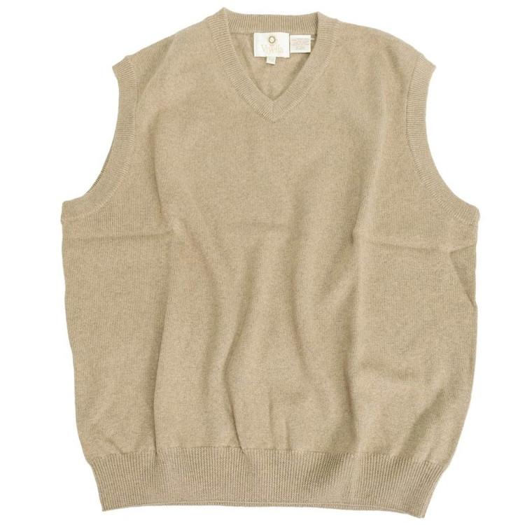 Merino Wool V-Neck Sleeveless Sweater in Mushroom by Viyella
