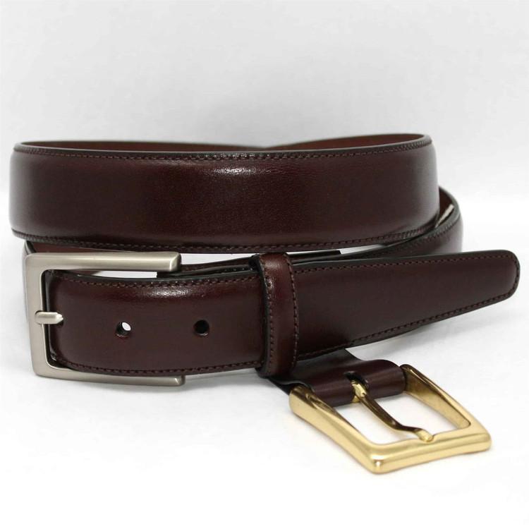 Glazed Kipskin Double Buckle Option Belt in Burgundy by Torino Leather Co.