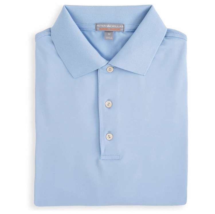Solid E4 Summer Comfort Stretch Jersey Polo with Knit Collar in Cottage Blue by Peter Millar